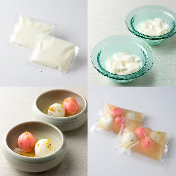 杏仁豆腐、白玉きんもくせいシロップ