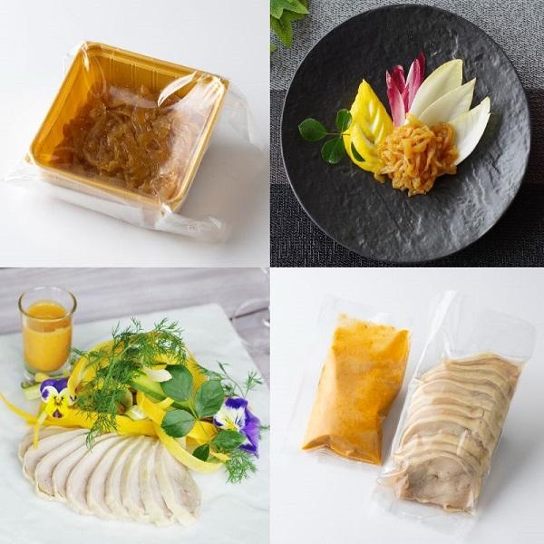 クラゲの柚子風味&蒸し鶏の冷菜胡麻ソース